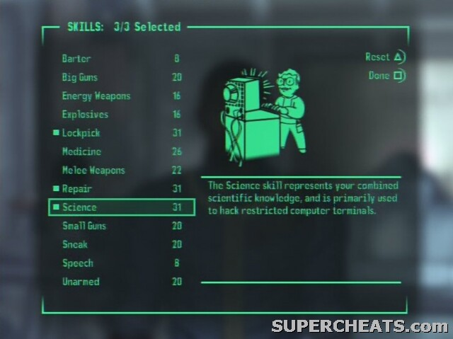 Any way to reset skills in fallout 3