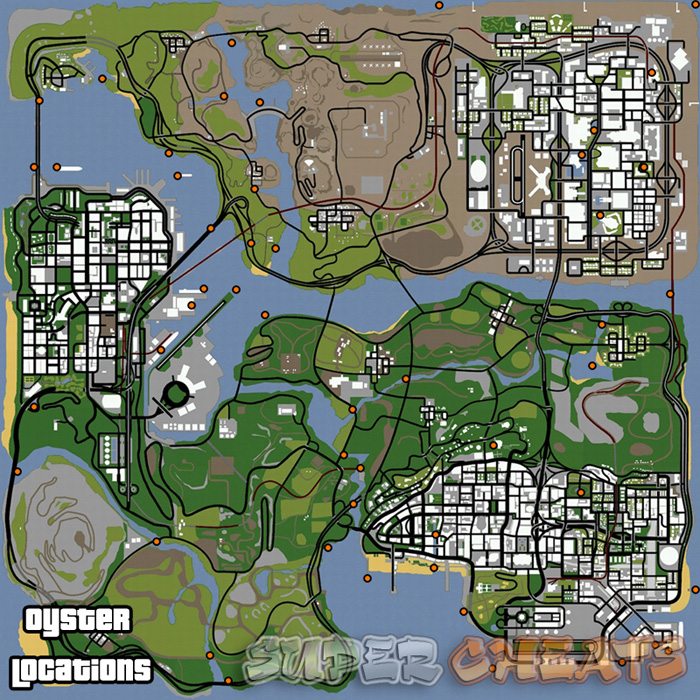 Oyster Locations Map - Grand Theft Auto: San Andreas Guide