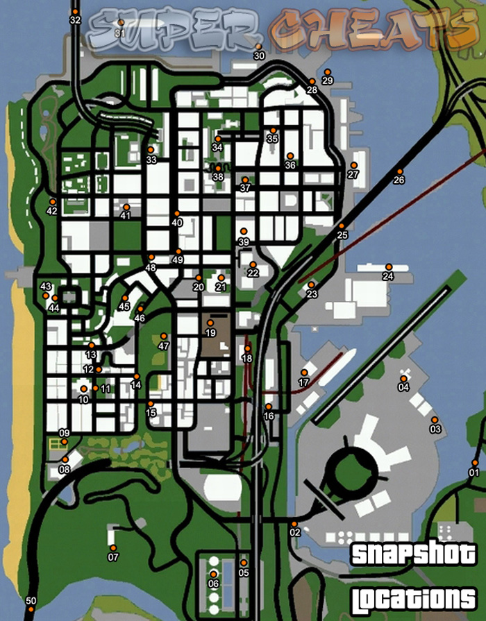 Snapshot Locations Map - Grand Theft Auto: San Andreas Guide