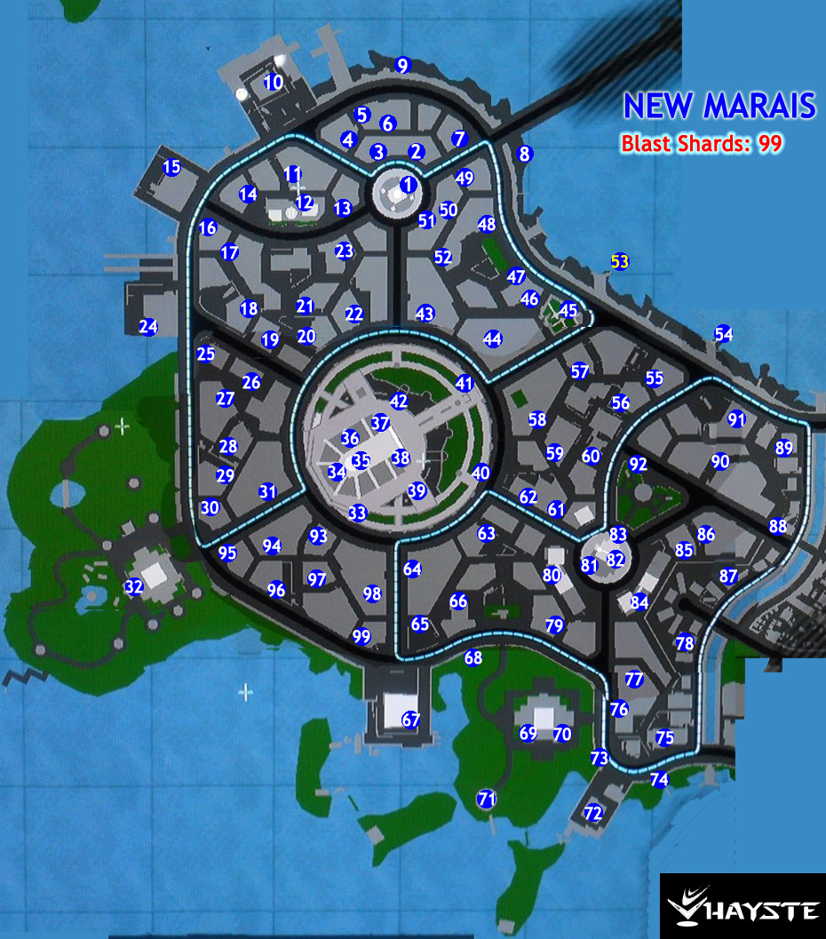 New Marais Blast Sharps Map - inFamous 2 Guide on infamous last level, infamous ps3, infamous 2 bird locations, dead drop locations map, blast shards ps3 map, infamous 1 shard locations, lost hatch map, infamous dead drops, dead town jak 2 map, infamous 2 pigeon locations, harvard map,